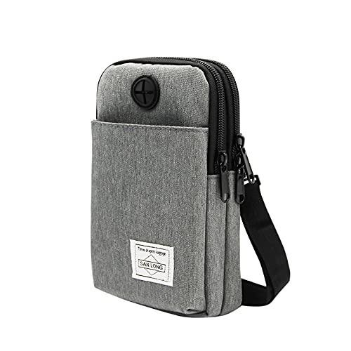3 capas impermeable bolsa para teléfono celular Crossbody bolso de tela Oxford cinturón cartera para hombres mujeres