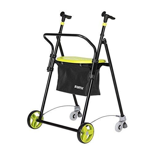 Rollator voor senioren, inklapbaar, van staal, met remmen achter, met mand en rugleuning, pistachinekleuren