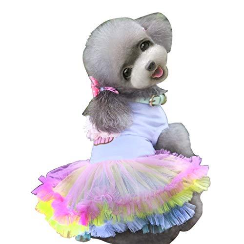 Vestido para Perro, Falda tutú para Perro, Linda Falda de Princesa, Vestido tutú de Encaje para Torta para Perros pequeños y medianos para Ropa de Verano