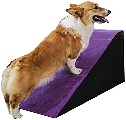 A-ffort Purple Pet Ramp Stairs, 30cm/40cm/50cm High Cat Dog Ladder Steps, Bed Sofa Car Pet Slope Staircase with Non-slip Removable Washable Cover (Size : 80x40x40cm)