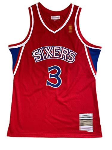 Divisa da basket per adulti, maglia da basket 76ers 3# Iverson stagione 96-97, retro maglia in maglia ricamata, maglia a ventaglio-red-L
