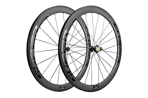 Superteam Carbon Fiber Road Bike Wheels 700C Clincher Wheelset 50mm Matte 23 Width (Glossy Black)