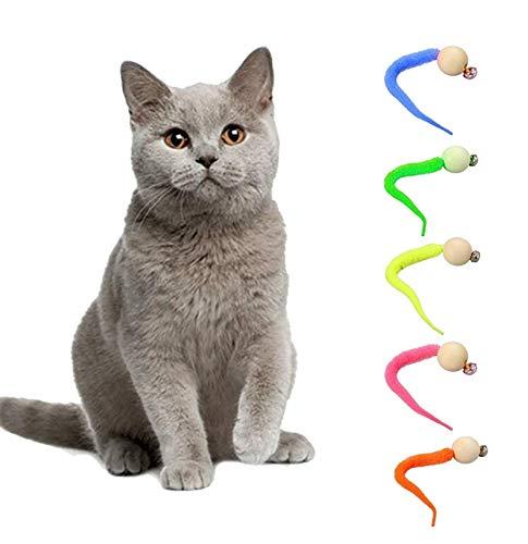 llop 5 piezas Wiggly gato juguete simulación gusano juguete con campana para mascotas interactivo gato pesca campana juguete