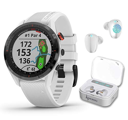 Garmin Approach S62 Premium GPS White Golf Watch with Wearable4U White Earbuds with Charging Power Bank Case Bundle