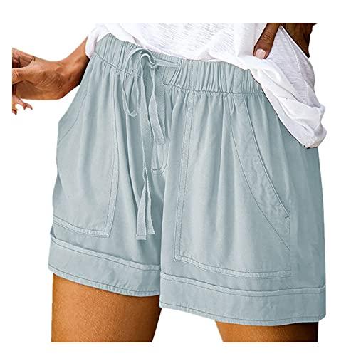 N\P Mujer cómoda Empalme Deportes Deportes Pantalones Cortos de Cintura elástica Casual