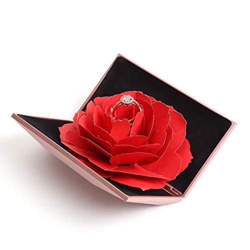 Amycute Ringschachtel Valentinstag Ring Box Rose Schmuckkästchen 3D Pop Up Rose Ring-Box Verlobungsring Box Ringschatulle (Pink)