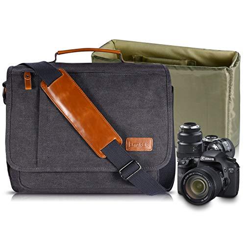 Estarer Camera Messenger Bag for SLR/DSLR Digital Cameras Laptop 15.6inch Shoulder Bag with Camera Insert Sleeve Upgraded Version