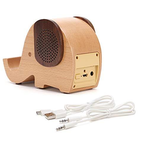 DQM Houten draagbare draadloze bluetooth speaker met olifant vorm praktische mobiele telefoon houder, uniek en interessant. eenvoudig ontwerp luidsprekers, dubbele kleur match maken het trendier niet saai.