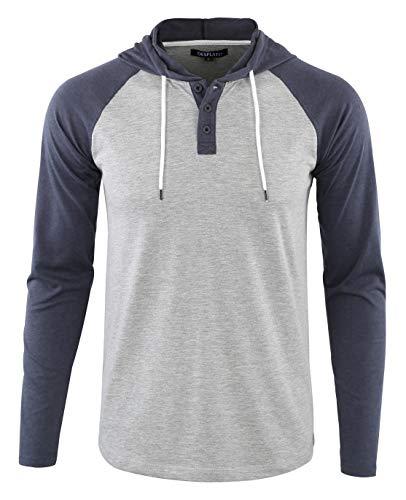 DESPLATO Men's Casual Long Sleeve Lightweight Henley Hooded Shirt Hoodie Jersey H.Gray/C.Blue M