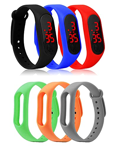 Styllent Silicone Slim Digital LED Black Dial Boy's and Girl's Bracelet Band Watch - Combo Set of 3 Watch for Kids Boys (Free 3 Multicolored Strap)