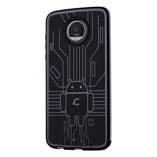 Cruzerlite Moto Z2 Play die Hülle, Bugdroid Circuit TPU die Hülle for Motorola Moto Z2 Play - Retail Packaging - Black