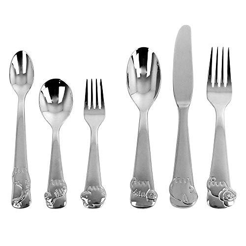 Oneida Wildlife Buddies 6 Piece Fine Flatware Progress 18/10 Stainless Steel, Silverware Set