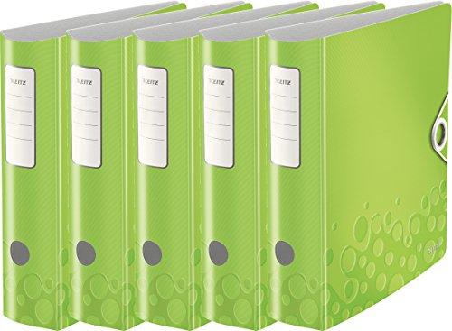 Leitz Qualitäts-Ordner 180° Active Wow, A4, Runder Rücken, 8,2 cm Breite, Kunststoff, Gummibandverschluss (5er Pack, grün metallic)