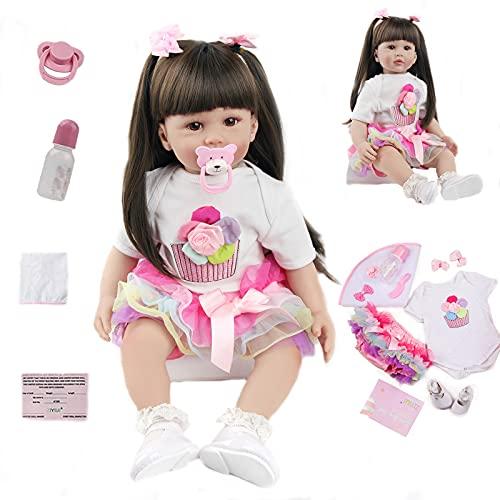 ZIYIUI 24 Pulgadas Muñecas Reborn Bebé Niña 60 cm Silicona Reborn Dolls Blanda Vinilo Hecho a Mano Juguetes para Recién Nacidos Bebe