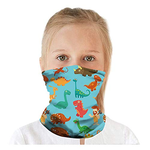 LOZACHE 2pcs Multifunction Headwear Kids Face Mask Bandanas Adjustable Breathable Neck Gaiter for Boys Girls (Dinosaur 01)