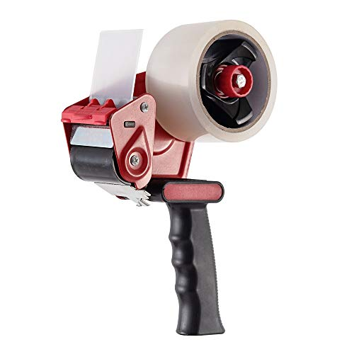 Packing Tape Dispenser Gun - Plus 2 Free Roll of Packaging Tape - Best Side Loading 2 Inch Lightweight Ergonomic Industrial Gun for Shipping, Moving, Carton and Box Sealing Red