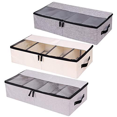 pet-lifeeling Organizador de ropa para zapatos, multifunción, plegable, bajo la cama, caja de almacenamiento con tapa a prueba de polvo, 4 compartimentos, paquete de 3