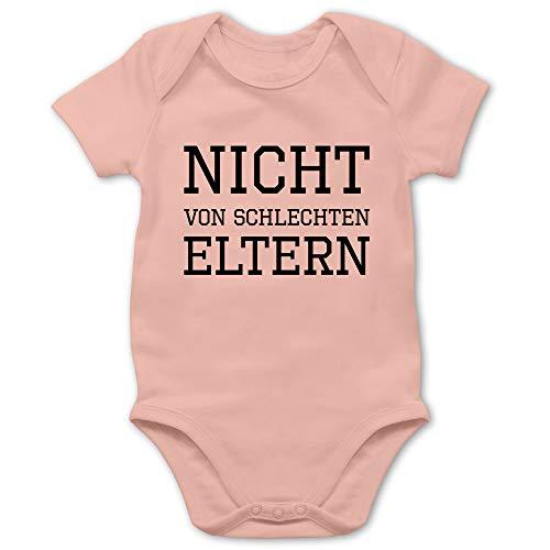 Shirtracer Statement Sprüche Baby - Nicht von schlechten Eltern - 3/6 Monate - Babyrosa - Nicht von schlechten Eltern Strampler - BZ10 - Baby Body Kurzarm für Jungen und Mädchen