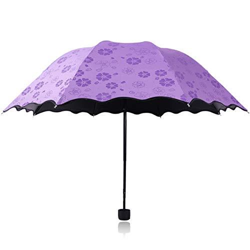Wantis Paraguas plegable, flor mágica en agua de lluvia, parasol resistente al viento, paraguas UV para mujeres y niñas