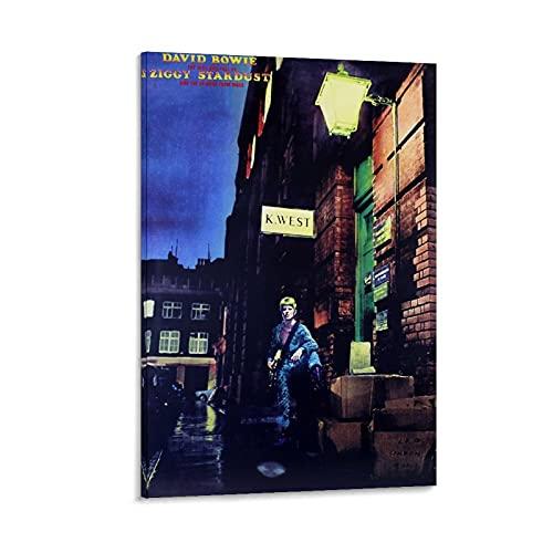 MMMU David Bowie Ziggy Stardust, poster da parete su tela per camera da letto, 50 x 75 cm