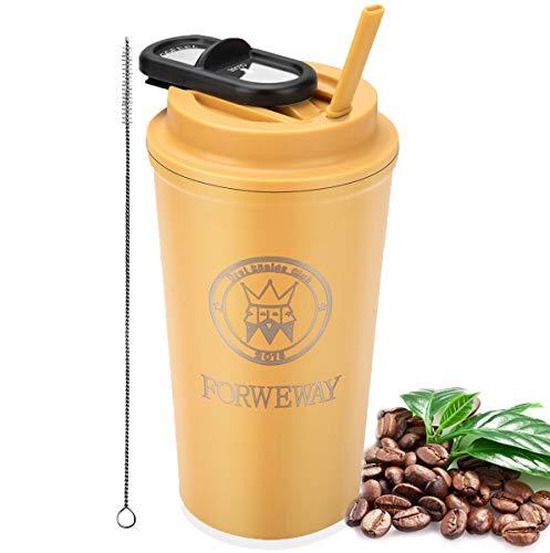 FORWEWAY Isolierte Kaffeebecher, Thermobecher Coffee to go Edelstahl Travel Mug mit Deckel Stroh BPA Frei Autobecher 100% Auslaufsicher 500ml/18oz für Kaffee Tee Wasser Reisen Büro (Gelb)