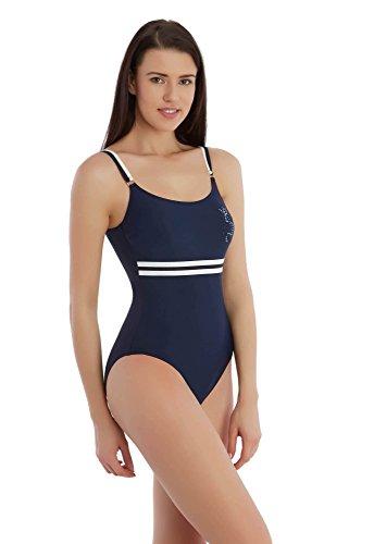 SUNSET® badpak marine blauw zeemann anker sport dubbele dragers pailletten logo