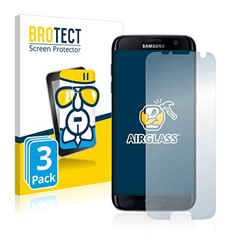 BROTECT Protector Pantalla Cristal Compatible con Samsung Galaxy S7 Edge Protector Pantalla Vidrio (3 Unidades) - Dureza Extrema, Anti-Huellas