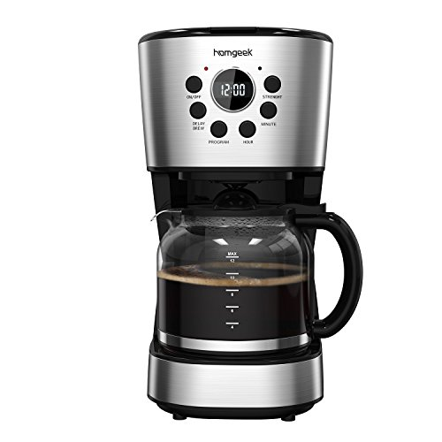 Homgeek 12-Cup Programmable Coffee Maker Automatic Drip Coffee Machine with Glass Carafe Black