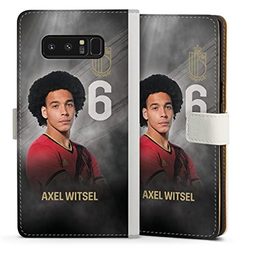 DeinDesign Klapphülle kompatibel mit Samsung Galaxy Note 8 Duos Handyhülle aus Leder weiß Flip Hülle Belgien Fußballspieler Offizielles Lizenzprodukt