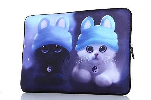 YIDA 15-15.6 Inch Laptop Sleeve Case Handle Bag Neoprene Cover, Blue cat