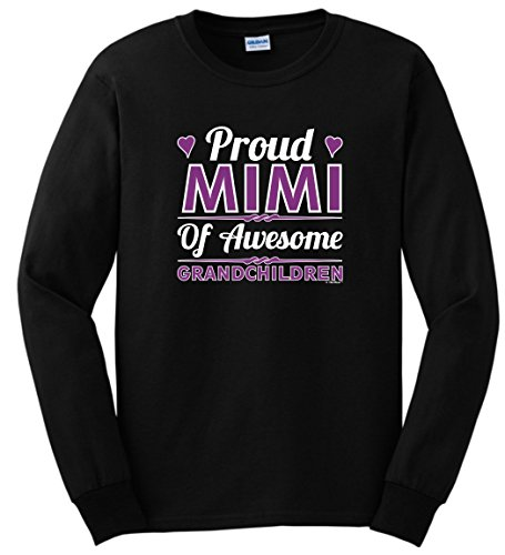 Grandma Gifts for Christmas Proud Mimi of Awesome Grandchildren Long Sleeve T-Shirt 2XL Black