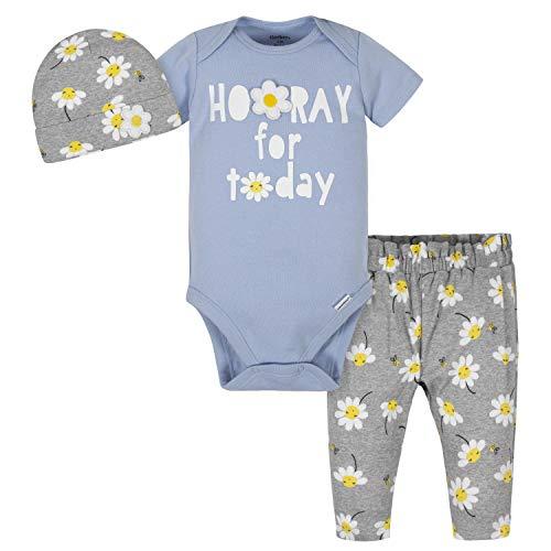Gerber baby girls 3-piece Onesies Bodysuit, and Cap Pants Set, Blue Daisies, 6 - 9 Months US