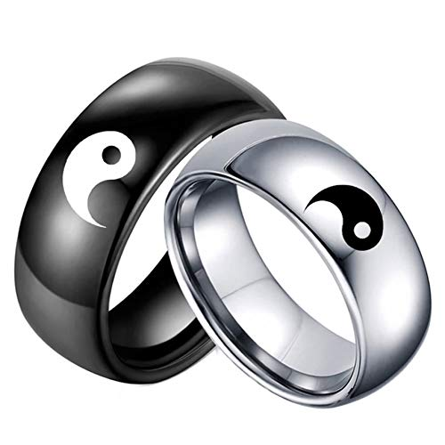 Ubestlove Eternity Rings for Womens Engraved Pattern Yin and Yang Ring Matching Wedding Rings His and Hers P½ L½