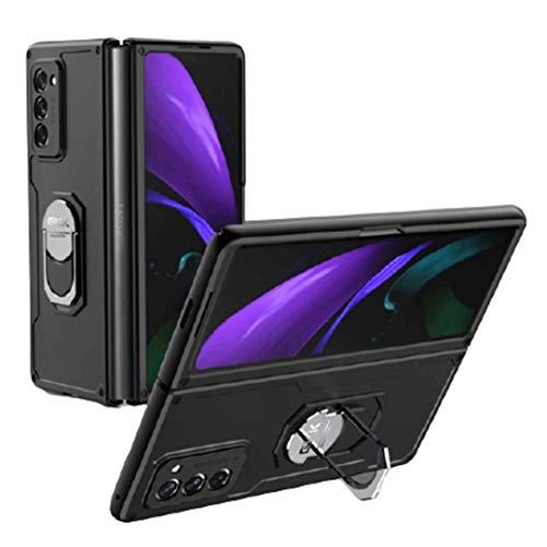 Compatible para Samsung Galaxy Z Fold 2-5G Carcasa(2020)Funda+3D Vidrio Templado Protector de Pantalla/Caja Skin Hard Silicona Cojín Antigolpes Caso Bumper 360° Giratorio Anillo Soporte Funda-Negro