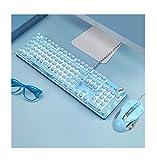 Gaming-Tastatur, Retro-Punk-Schreibmaschine, Blaue Schalter, weiße Hintergrundbeleuchtung, USB-Kabel, für PC-Laptop-Desktop-Computer, mechanische Tastatur für Spiel und Büro (Blaue Tastatur + Maus)