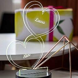 Herz-Leuchte mit Namensgravur   romantisches LED-Herz mit Namen und Farb-Lichtern als Partnergeschenk   7 Farben