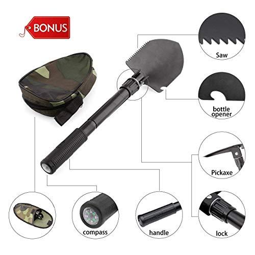 Amzdeal Metal Detector - Rilevatore di Metalli con Rilevamento Dual Mode, Luce a LED, Lunghezza Regolabile (33,46-45,27 pollici), Bobina di Ricerca Impermeabile, Pala Pieghevole Come Regalo