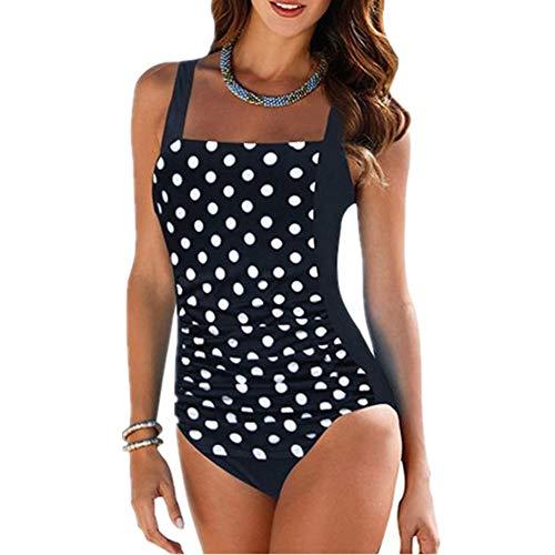Chickwin Traje de Baño Mujer, Elegante Push-up con Cuello en V con Relleno Acolchado de Una Pieza Bikini Copas Bañador Tallas Grandes para Mujer (3XL,Punto Negro)