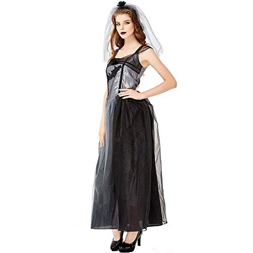 WYY-MY Disfraz de Diablo de la Novia Fantasma de Halloween Disfraz de Bruja Disfraz de Vampiro Disfraz de Novia de la Muerte del Infierno Disfraz de Fiesta Uniforme,Negro,M