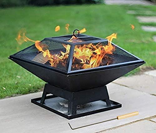 sZeao Feuerstelle Mit Grillrost Feuerstelle Für Den Garten Terrasse 3 in 1 Multifunktional Fire Pit Mit Funkenschutzgitter Für BBQ/Heizung Garten Terrasse