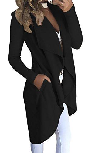 Tomwell Autunno Donna Cardigan Aperto Davanti A Maniche Lunghe Orlo Irregolare Giacca Breve Blazer Cappotto Jacket con Tasca Nero IT 40