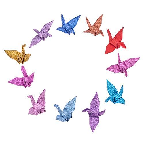 WANDIC - Grullas de papel para origami, hechas a mano, plegadas, para decoración del hogar, boda, fiesta, colores variados, 50 unidades