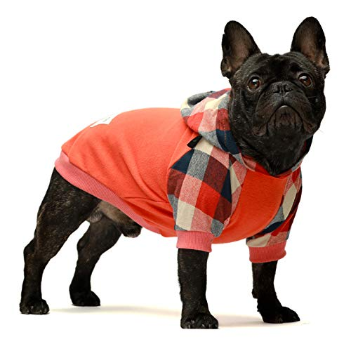 Fitwarm Dog Plaid Shirts Doggie Clothes Puppy Hoodies Cat Hooded T Shirts Pet Outfits Cotton Orange Small