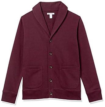 Amazon Essentials Men s Long-Sleeve Fleece Shawl-Collar Cardigan Burgundy Large