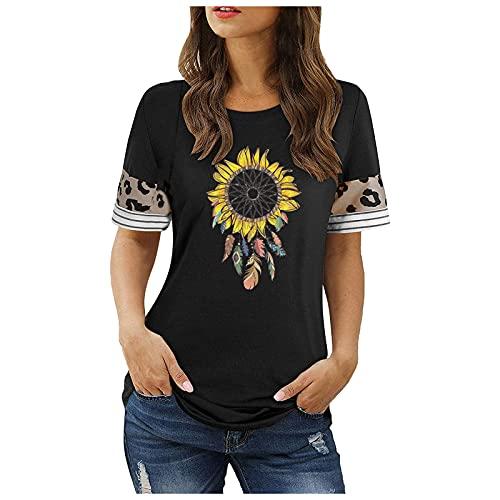 Camisetas Manga Corta Mujer Casual T-Shirt con Leopardo Girasol Estampado Verano Originales Suelto Cuello Redondo Tallas Grandes Deporte Blusa Camisa Tee Shirts Basicas Túnica Tops(A Negro,M)