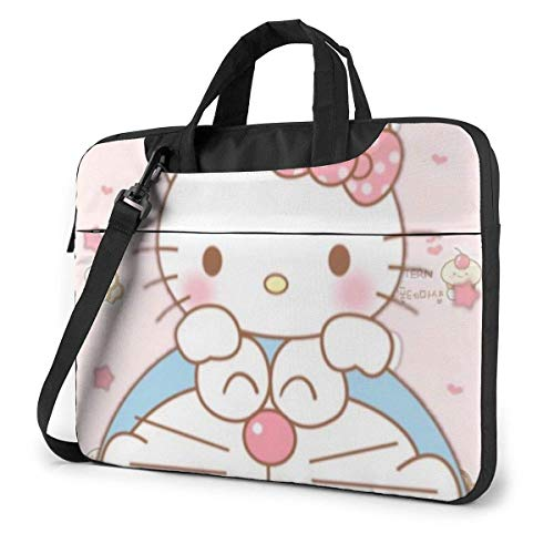 15.6 ″ Viajes de Negocios He-llo-Ki-tty con Pastel Laptop Notebook PC Maletín de Hombro Bolsa de Mensajero Funda