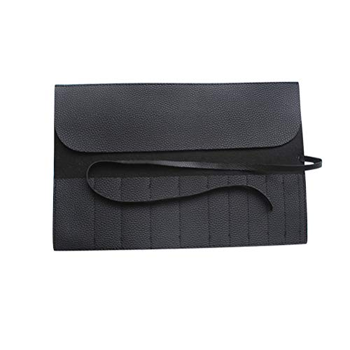 CABILOCK Makeup Brush Organizer Rolling Bag Cosmetic Storage Case Brushes Pouch Portable 18 Slots Makeup Tool Holder(Black)
