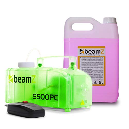 beamZ S500PC Nebelmaschine mit LED - 500 W, 2 x 3 RGB-LEDs, 250 ml Tank, Füllstandsanzeige, 50 m³/Min. Ausstoßvolumen, inkl. 5-Liter-Nebelfluid, transparent