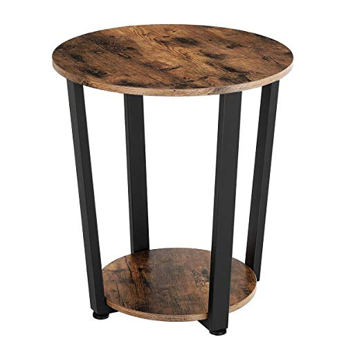 KingSo End Table Round 2-Tier Industrial Side Table with Storage Shelf Metal Frame Nightstand Easy Assembly & Sturdy Sofa Coffee Table for Living Room, Bedroom, Rustic Brown