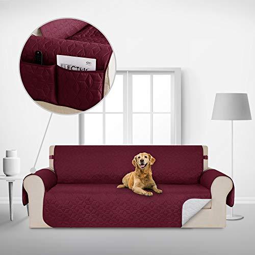 Deconovo Sofabezug Sofaüberwurf Sofaüberzug Couchbezug Möbelschutz Sofaschoner 173x190 cm Burgund 3-Sitzer